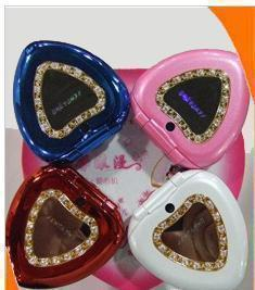 smallest mobile phone 2013 mini heart mobile phone a1308 cosmetic box mobile phone blusher box flip heart mobile phone(China (Mainland))