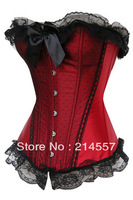 HOt Sale Red satin with small dots and black lace trim lace up boned corset busiter bodyshaper S-2XL Free shipping