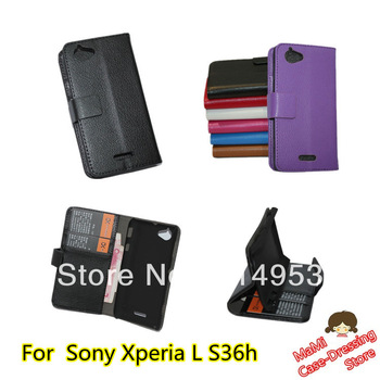 Wallet Purse Money bag Card slot Stand Flip High Quality Leather Cover mobile phone Case for Sony Xperia L S36h
