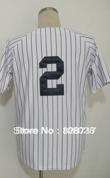 Free shipping #2 Derek Jeter Men's Baseball Jersey,Sports Jersey,Embroidery logos,Size 48--56,Accept Mix Order(China (Mainland))