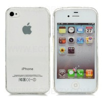 Protective Crystal Silicone Case for iPhone 4 - White  free shipping