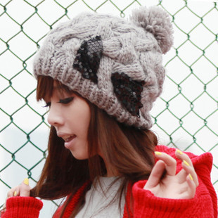 Hat autumn and winter female paillette bow knitted hat autumn and winter large sphere knitting wool cap(China (Mainland))