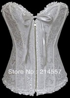 hot sale new White lace up boned corset busiter zipper front showgril costume S-2XL free shipping