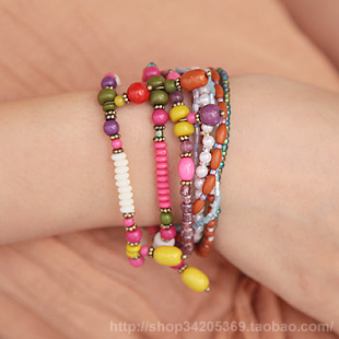 Jewelry unique multi-colored crystal nunatak bead beaded multi-layer elastic bracelet(China (Mainland))