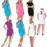 Spring women's one-piece dress 2013 women's slim skirt polo 100% one-piece dress cotton dress