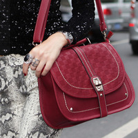 2013 spring sewing thread checkerboard palid lockbutton vintage shoulder bag spike handbag cross-body bags female