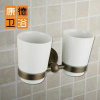 Fashion flower vine bathroom accessories copper antique double cup holder lovers cup brush set antique brass ceramic double cup