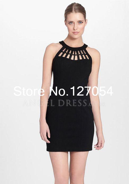 Sleeveless Sheath/ Column Halter With Cutout Short Length Chiffon Little Black Dresses(China (Mainland))