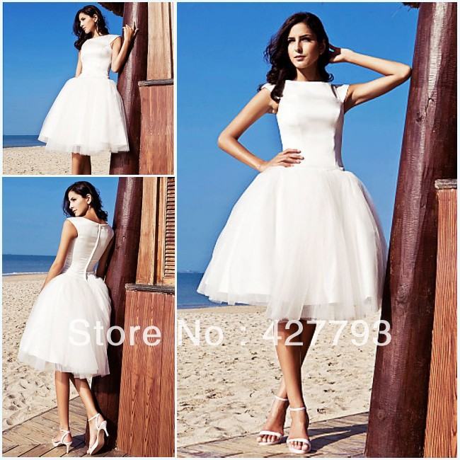 Ball Gown Bateau Knee-length Satin Tulle Wedding Dress inspired by Audrey Hepburn Funny Face(China (Mainland))
