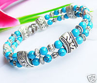 Charming Tibet Silver Asian Turquoise Bracelet(China (Mainland))
