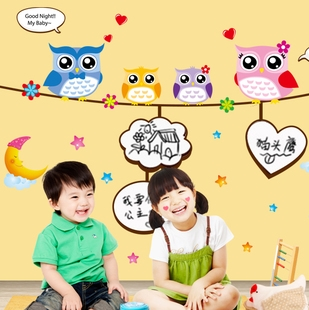 Wall stickers child real blackboard stickers heart doodle message posted owl
