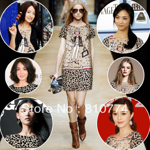 BIG DISCOUNT beautiful high quality women's summer fashion leopard print skirt 2013 mulberry silk one-piece dress(China (Mainland))