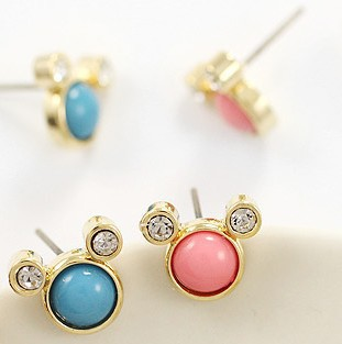 Korean jewelry wholesale cute little candy colored rhinestone stud earrings Mickey D053(China (Mainland))