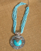 National beads accessories tibetan jewelry with alloy finaning pendant