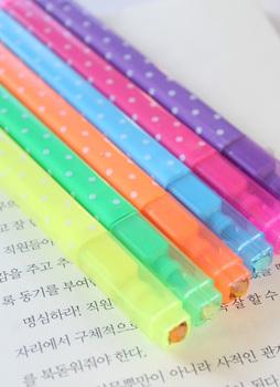 Fresh polka dot double slider multicolour neon pen flash pen paragraph