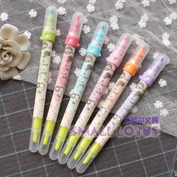 Double slider two-color neon pen chenguang stationery doll 6 set multicolour marker pen 4433
