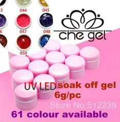 Free shipping, 6g soak off led /nail uv gel polish 6pcs/lot 61 colour available