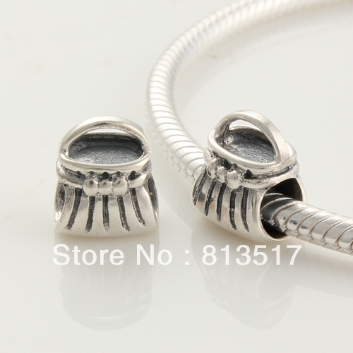 Free Shipping 100% 925 Silver Antique silver Charms Wallet Silver beads Fits for charmilia European Bracelet and NecklaceFJ202(China (Mainland))