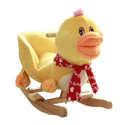 Child day gift baby rocking horse baby rocking chair wooden horse toy yellow duck trojan rocking horse music(China (Mainland))