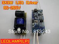 10pcs/lot 3X3W led driver, 9W lamp power transformer, 85-265V inside driver for LED lamp, led driver wholesale, free shipping!