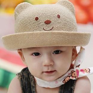 Children's sun hat girl and boy baby bear basin straw hat Little bear baby hats(China (Mainland))