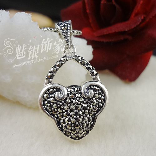 925 silver full rhinestone longevities lock vintage silver pendants pure silver pendant all-match(China (Mainland))