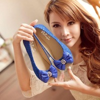 2013 sweet flat print bow open toe flat sandals package with all-match female shoes
