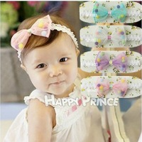 On Sale! Baby Girl Bowknot Headbands Cute Dot Children Lace Hair Accessories Kids Flower Headband (10pcs/lot) Free Shipping