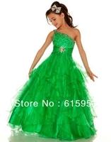 Lovely One Shoulder Floor Length Beadings Green Organza Little Girl Dress Pageant Dress JY2161
