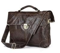 2014 new cow leather commercial man bag fashion vintage handmade briefcase handbag male shoulder bag 1017