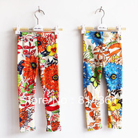 Best Selling!!2013 Spring girls baby children wear ink painting large flowers wild bottoming pants feet pants Free Shipping