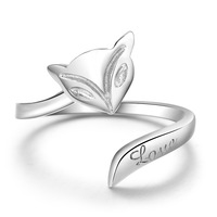 Fire fox ring women's s925 pure silver ring finger ring pinky ring