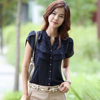 Free Shipping, 2014 summer women's short-sleeve shirt OL chiffon shirt plus size female chiffon blouses