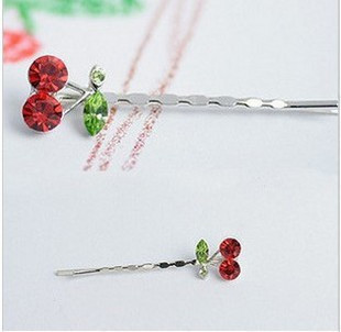 Min.order is $10 (mix order)Korean version of the super-cute red cherry hairpin side folder word folder