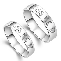 Kiss me s925 pure silver lovers ring didymous accessories thickening