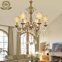 Copper lamps living room pendant light fashion classical copper crystal lighting