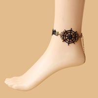 Free shipping! Min.order is $ 15 (mix order) Promotion Price!!   Devil law  Retro  Lace Anklets  Cobweb  Female  Foot straps