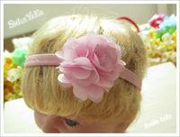 12pcs 2.5inch  Net Hair Flower + 1CM elastic Cord Headband Hairband for Baby Kids Hair Accessories