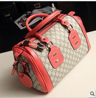 Freeshipping Fashion 2014 metal decoration letter print bucket bag handbag portable one shoulder cross-body women's handbag