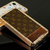Premium Chromed Hard Case With Leather Surface For iPhone 4/iPhone 4S for iPhone 4G Plated Leather Case Free Shipping