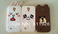 Free shipping 3 designs Line Character Brown bear&Cony Rabbit , Moon silicon case for Samsung Galaxy S4 i9500 s3 i9300,FREE FLIM