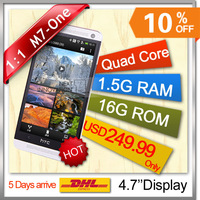 ONE m7 phone 1.5G ram 16G rom MTK6589 quad core phone 4.7Inch Original LOGO  Android 4.21 1:1 galaxy  phone DHL arrive in 5days