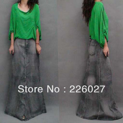 2013 Fashion Woman's long skirt , muslim fashion skirt , islamic daily dress,denim dress,jeans high quality(China (Mainland))