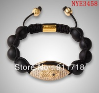 NYE3458 Fashion Lovely lady bracelet with rhinestone, free shipping black ball with gold rhinstone bracelet