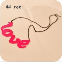 100pcs/lot Wholesale fluorescence color love letter pendant necklace Jewelry 2013 women Promotion Gifts  Free shipping