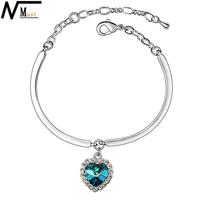 MT JEWELRY Free Shipping Titanic Blue Ocean Crystal Heart Pendant Bracelet For Women