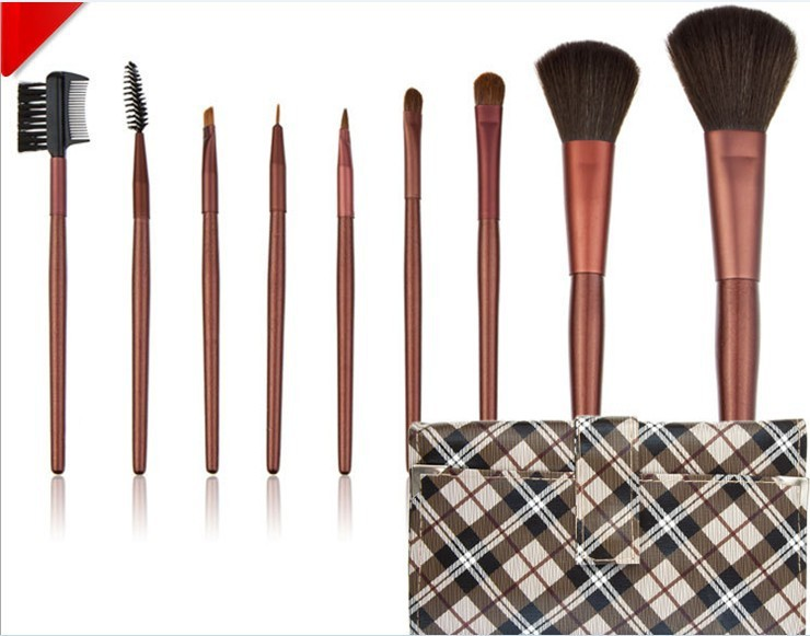 Free Shipping 9PCS Makeup Brushes Professional Make UP Cosmetic Set + tartan design Case(China (Mainland))
