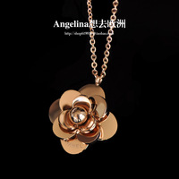 2014 Rushed Hot Sale Choker Necklace Colares Femininos Titanium Accessories Small Necklace 18k Rose Camellia Female Chain Gift