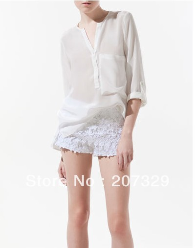 2013 New Fashion Womens' elegant sexy see-through style OL business blouse simple casual shirt long sleeve 5 solid cindy colors(China (Mainland))