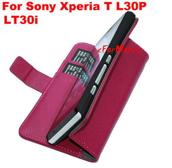 Free Shipping Mobile phone Leather Case Stand Cover Mobile Phone Pouch For  Sony Xperia T LT30p LT30i